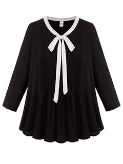 Elegant Women Solid Bow Tie Patchwork Pleated Chiffon Blouse