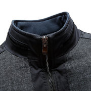 Plus Size Winter Casual Thicken Warm Stitching Stand Collar Jacket for Men