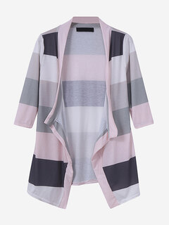 Women Casual Loose Multi-color Stripe Irregular Cardigan