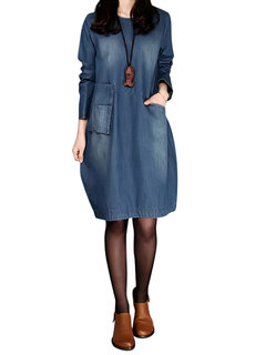 Casual Solid O-Neck Long Sleeve Denim A-Line Dress For Women