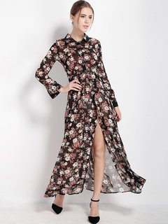 Women Casual Floral Slit Stand Collar Long Sleeve Maxi Dress