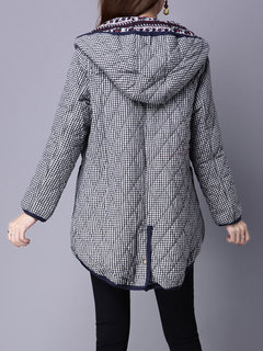 Casual Loose Plaid Hooded Long Sleeve Thicken Coat For Women