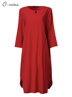 O-Newe Casual Solid O-Neck Half Sleeve Dress For Women