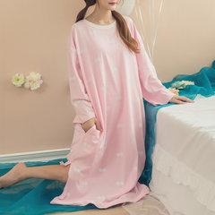 Повседневная Хлопок Печать с длинным рукавом Nightgown Soft Сыпучие Нижнее и ночное белье для женщин
