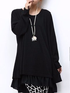 Casual Chiffon Patchwork Back Bow Double Layer Flared Mini Dress