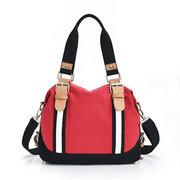 Women Contrast Color Handbag Canvas Large Capacity Shoulder Bags Crossbody Bags