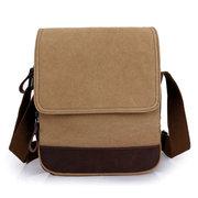Men Women Canvas Retro Cowhide Leather Outdoor Shoulder Crossbody Bag