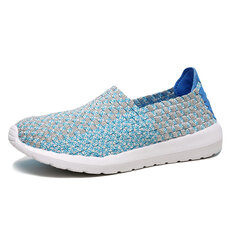 Knitting Weave Elastic Slip On Flat Lazy Casual Shoes