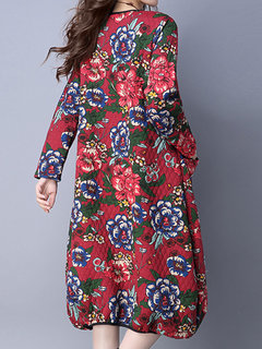 Casual Flower Printed Long Sleeve O-Neck Cotton A-Line Dress For Women