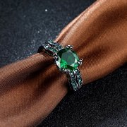 Vintage Women Ring Glass Crystal Rhinestone Copper Square Ring