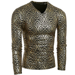 Mens Fashion Party Gold Foiling Scale Costume V-Neck Slim Fit Long-Sleeve T-Shirt