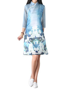 Chinese Style Printed Stand Collar A-Line Cheongsam Dress For Women