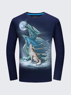 Повседневный 3D животных шаблон печати Хлопок O-образным вырезом с длинным рукавом плюс размер футболки для мужчин