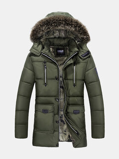 Winter Outdoor Thicken Warm Multi Pockets Detachable Hood Jacket For Men