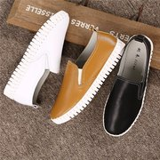 Pure Color Leather Casual Soft Slip On Flat Shoes