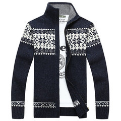 Mens Fall Winter Sweater Snowflake Pattern Knitted Thick Stand Collar Casual Cardigan