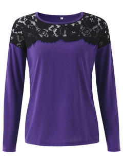 Lace Splicing Solid Sexy Long Sleeve Basic Women Shirt