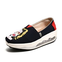 Graffiti Pattern Colorful Canvas Color Match Korean Style Slip On Platform Shake Shoes
