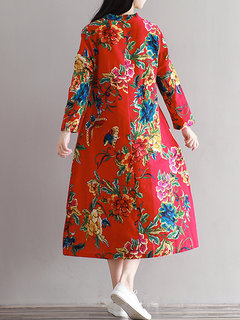 Vintage Flower Printed Embroidery Patchwork Long Sleeve Gown Dress For Women