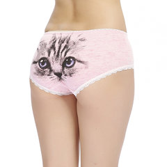 Women Lovely Cat Printing Cotton Panties Low Waist Breathable Cosy Briefs Underwear