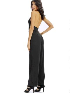 Women Casual Deep V Halter Backless Sleeveless Loose Jumpsuit