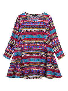 O-Newe Retro Geometric Patterns Printed Long Sleeve A-Line Dress For Women