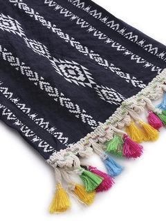 Ethnic Geometry Printed Multicolor Tassel Bandage Loose Long Sleeve Women Blouse