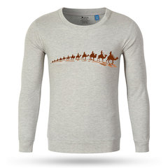 Big Size Fall Winter Mens Camel Printing Round Neck Cotton Casual Long Sleeve T-shirts