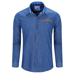 Casual Fashion Solid Color Turn-Down Collar Long Sleeve Denim Dress Shirt for Men