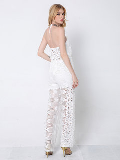 Lztlylzt Women Sexy Floral Lace Backless See-through Sleeveless Jumpsuit