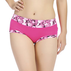 M-L Women Cosy Floral Printed Mid Waist Panties Bamboo Fiber Breathable Underwear