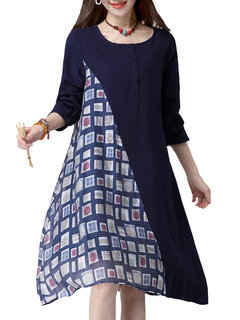 Casual Printed Patchwork Color Contrast Irregular Dress For Women