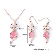 Alloy Inlaid Crystal Fox Opal Necklace Earrings Jewelry Set