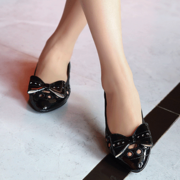 Egg Roll Soft-Soled Shoes Pointed Toe Hollow Flat Shoes With Bow