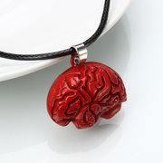 Brain Necklace Alloy Drip Red Brain Necklace for Halloween