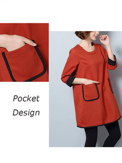 Casual Solid Half Sleeve Pocket Cotton Mini Dress For Women