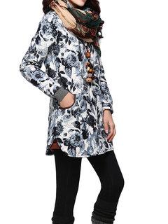 Vintage Women Long Sleeve Floral Printed Mid-Long Coat