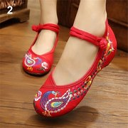 Red Embroidery Phoenix Flat Slip On Retro National Wind Shoes