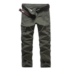 Mens Outdoor Cargo Pants All Seasons Solid Color Multi-pocket Cotton Casual Trouser