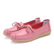 Candy Color Lace Up Leather Flat Soft Comfortable Loafers