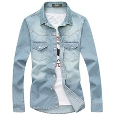 Men's Spring Fall Fashion Slim Fit Washed Denim Turn Down Collar Long-sleeved Shirt