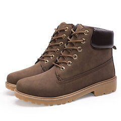 Men Big Size Camouflage Metal Button Waterproof Lace Up Casual Ankle Boots