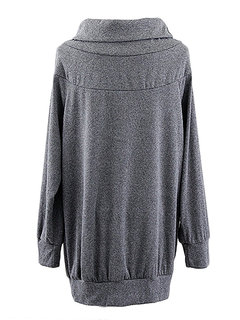 Loose Casual Women Brief Turtleneck Long Sleeve Pullover Blouse