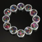Mix-Colors DIY English Alphabet Letter Shaped Nail Art Decoration Acrylic Sparkly Sequin Tips