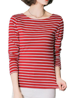 Plus Size Casual Stripe O-Neck Long Sleeve Stretch Blouse For Women