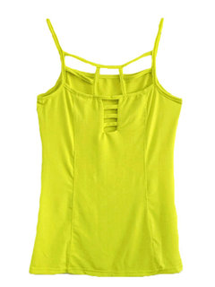 Women Sleeveless Strap Pure Color Hollow Out Sexy Tank Top