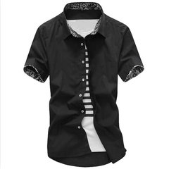 Summer Mens Solid Color Floral Printing Lined Turndown Collar Short Sleeved Cotton Shirts