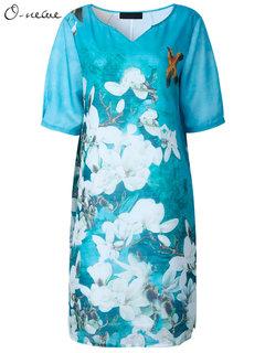 O-Newe Элегантный Printed V-образным вырезом Половина рукава платья для женщин