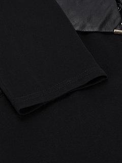 OL Карманный Длинные рукава Кожа Лоскутное черное платье