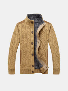 Knitted Plus Velvet Thick Warm Single Breasted Stand Collar Sweater Cardigan for Men